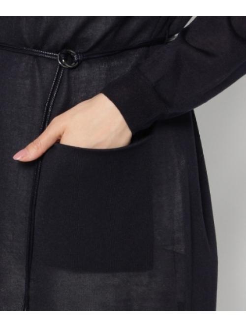 ベルテッドロング丈羽織りカーディガン
