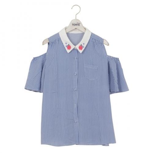 LOHACO - 衿刺繍肩あきブラウス (シャツ・ブラウス) FASHIONWALKER