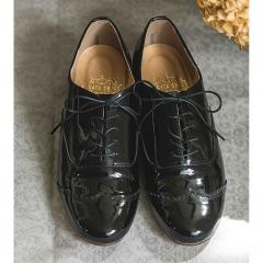 10%OFFクーポン対象商品 【送料無料】 長田靴職人の本革仕立て シンプルレースアップ レザーシューズ 〈エナメルブラック〉[本革 靴:日本製]― サイズ3 クーポンコード:KZUZN2T