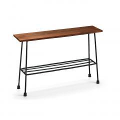 【送料無料】 少し背の低いちょい置き細長ローテーブル〈ブラック〉