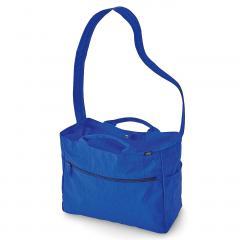 10%OFFクーポン対象商品 大きく開いて取り出しやすい 軽くて丈夫な大きめナイロンショルダーバッグ〈ブルー〉 クーポンコード:KZUZN2T