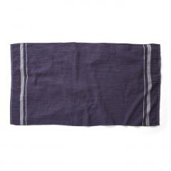 10%OFFクーポン対象商品 古着屋さんで見つけたような リネンガーゼと綿パイルのバスタオル〈ネイビー〉 クーポンコード:KZUZN2T
