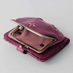 10%OFFクーポン対象商品 【送料無料】わたしに寄りそうオールレザー がま口付き折り財布(ぶどうパープル)[本革 二つ折り財布:日本製] クーポンコード:KZUZN2T