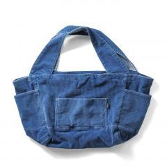 【送料無料】古着屋さんで見つけたような インディゴ染めコーデュロイトートバッグ 〈ブルー〉