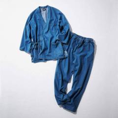 【送料無料】古着屋さんで見つけたような デニムの作務衣〈ライトブルー〉