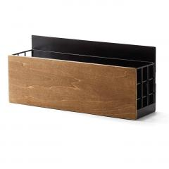 10%OFFクーポン対象商品 木とスチールの引っ付きマグネットラック〈ブラック〉 クーポンコード:KZUZN2T