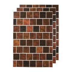 10%OFFクーポン対象商品 貼ってはがせる 壁紙シール〈ブラウンスクエアタイル〉 クーポンコード:KZUZN2T