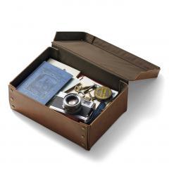 【送料無料】折りたたみできる 本革の書類箱〈ヴィンテージブラウン〉