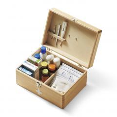 【送料無料】木工職人の手づくり 木のくすり箱 〈ブラウン〉