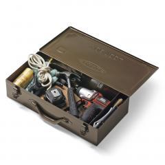 【送料無料】まるでトランクみたい! ビッグスチール工具箱〈珈琲ブラウン〉