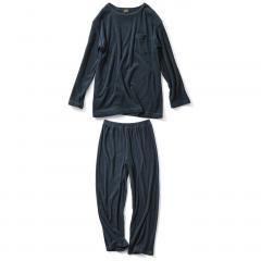 【送料無料】古着屋さんで見つけたような 両面パイルのやわらかパジャマ〈ヴィンテージネイビー〉