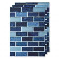 貼ってはがせる 壁紙シール〈ブルータイル〉 〈ブルー〉