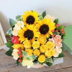 バラ10本とひまわりのアレンジメント 生花 送料無料 誕生日 記念日 お祝い 父の日 ギフト