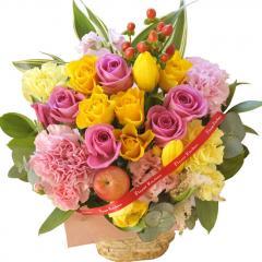フラワーギフト 10本バラアレンジメント ミックス 生花 送料無料 誕生日 記念日 お祝い ギフト