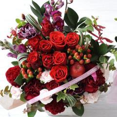 フラワーギフト 10本バラアレンジメント レッド 生花 送料無料 誕生日 記念日 お祝い ギフトの画像