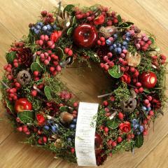 クリスマスリース Mサイズ A.ラズベリーアップル  季節のインテリア アートリース 送料無料(一部地域を除く)