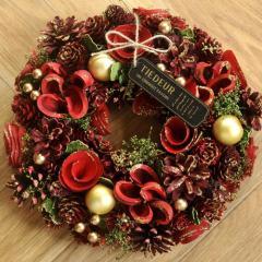クリスマスリース Mサイズ D.サンタパール  季節のインテリア アートリース 送料無料(一部地域を除く)
