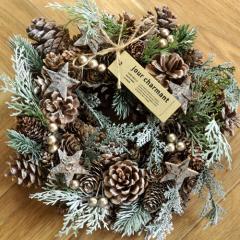 クリスマスリース Mサイズ J.スタークレスト  季節のインテリア アートリース 送料無料(一部地域を除く)