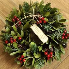 クリスマスリース Mサイズ L.グリーンリーフ  季節のインテリア アートリース 送料無料(一部地域を除く)