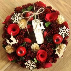クリスマスリース Mサイズ M.トナカイレッド  季節のインテリア アートリース 送料無料(一部地域を除く)