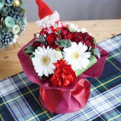 フラワーギフト クリスマスのスタンディングブーケ 花瓶いらずの花束 生花 送料無料 お祝い ギフトの画像