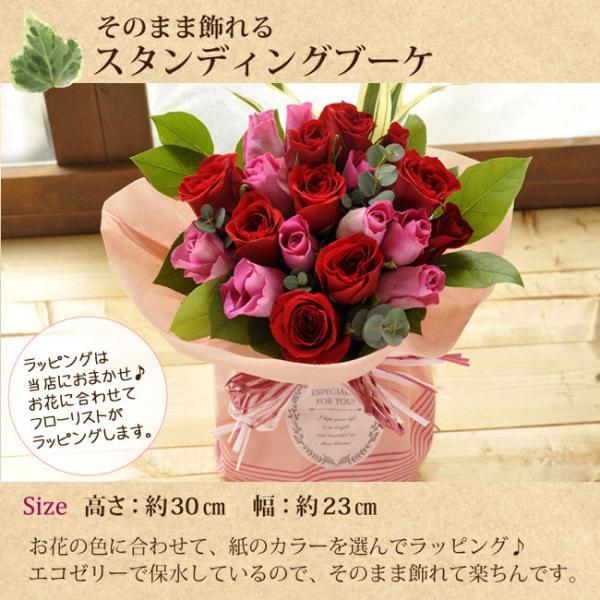 フラワーギフト 20本バラのスタンディングブーケ ピンク&レッドのミックス 生花 送料無料