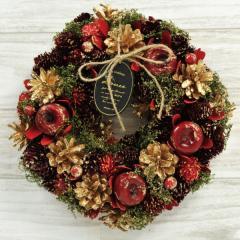 クリスマスリース B.アップルグリッター 季節のインテリア アートリース 送料無料(一部地域を除く)
