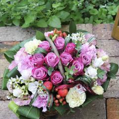 フラワーギフト バラのガーデンバスケット ピンク 生花 送料無料 誕生日 記念日 お祝い ギフト