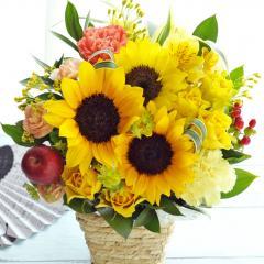 夏限定 バラとひまわりのアレンジメント 生花 送料無料 誕生日 記念日 お祝い 父の日 ギフト
