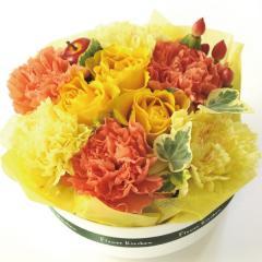フラワーギフト ミニフラワーケーキ レモンイエロー 生花 送料無料の画像
