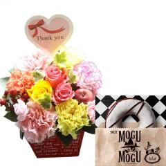 花とスイーツのセット Thanksアレンジ(ミックス)と選べるスイーツカタログギフト 生花 送料無料 誕生日 記念日 お祝い