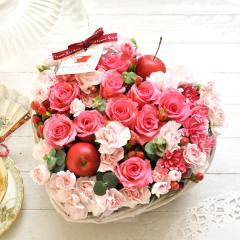 フラワーギフト ピンク系ハートケーキ 生花 送料無料 誕生日 記念日 お祝い ギフトの画像