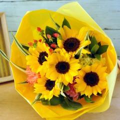 夏限定 ひまわりミックスブーケ 風鈴ピック付き 生花 送料無料 誕生日 記念日 お祝い 父の日 ギフト