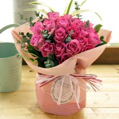 フラワーギフト 20本バラのスタンディングブーケ ピンク系 生花 送料無料