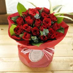 フラワーギフト 20本バラのスタンディングブーケ レッド系 生花 送料無料の画像