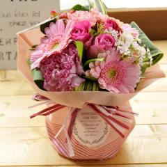 フラワーギフト 旬のスタンディングブーケ ピンク系 生花 送料無料 誕生日 記念日 お祝い ギフト