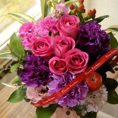 フラワーギフト ムーンダストカーネーションとピンクバラのアレンジ 生花 送料無料 ムーンダストバラAr