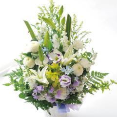 旬のおまかせ供花 白に青紫を入れて 生花 送料無料