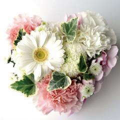 ハートケーキのペットお供え 白ピンク系 生花 送料無料