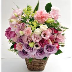 フラワーギフト シャルロッアレンジ ピンク 生花 送料無料の画像