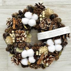 【セール】 クリスマスリース H.シナモンコットン 季節のインテリア アートリース 送料無料(一部地域を除く)