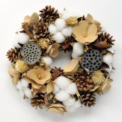 ナチュラルクリスマスリース ロータスコットンベルリース 季節のインテリア 送料無料(一部地域を除く)