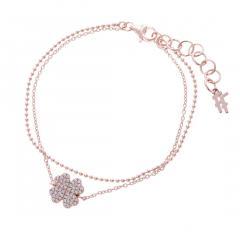 フォリフォリ Fashionably Silver Heart 4 Heart Love クローバーブレスレット(ピンクゴールド)