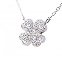 Fashionably Silver Heart 4 Heart Love クローバーネックレス