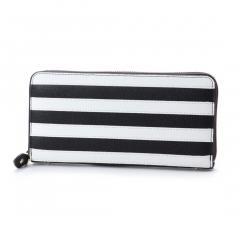 フォリフォリ CLUB RIVIERA ストライプウォレット/財布(ブラック×ホワイト)