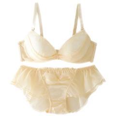 フランデランジェリー(fran de lingerie)【ふわ盛】tulle ribbon チュールリボン ペアブラジャー B-Gカップ