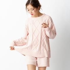 フランデランジェリー(fran de lingerie)teddy knit テディニット ケーブル編みプルオーバー