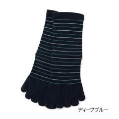 ふくらし ゆるぴ丈 ボーダー 5本指 ソックス/ディープブルー/22-24cm