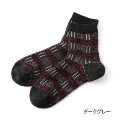 THE.GALLERY.SOCKS ジャガードチェック クルー丈ソックス/ダークグレー/23-25cm