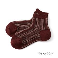 THE.GALLERY.SOCKS ジャガードストライプ クルー丈ソックス/ライトブラウン/23-25cm